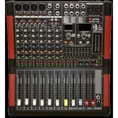 AFPM-108 Микшерный пульт, 8 каналов, групповая шина, встроенный цифровой процессор эффектов, встроенный MP3-плеер, подключение через USB и Bluetooth