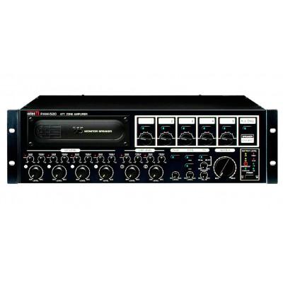 PAM-520 Модульный микшер-усилитель, 5 зон, 240 Вт, 2 лин., 4 унив. входа, вход АТС, RM-05A, режим EM, Voice File
